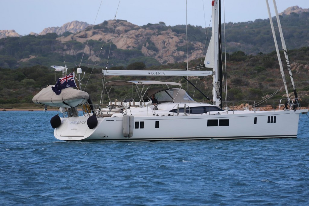 When we arrive in the bay  we spotted another Australian flag on a brand new Gunfleet 58