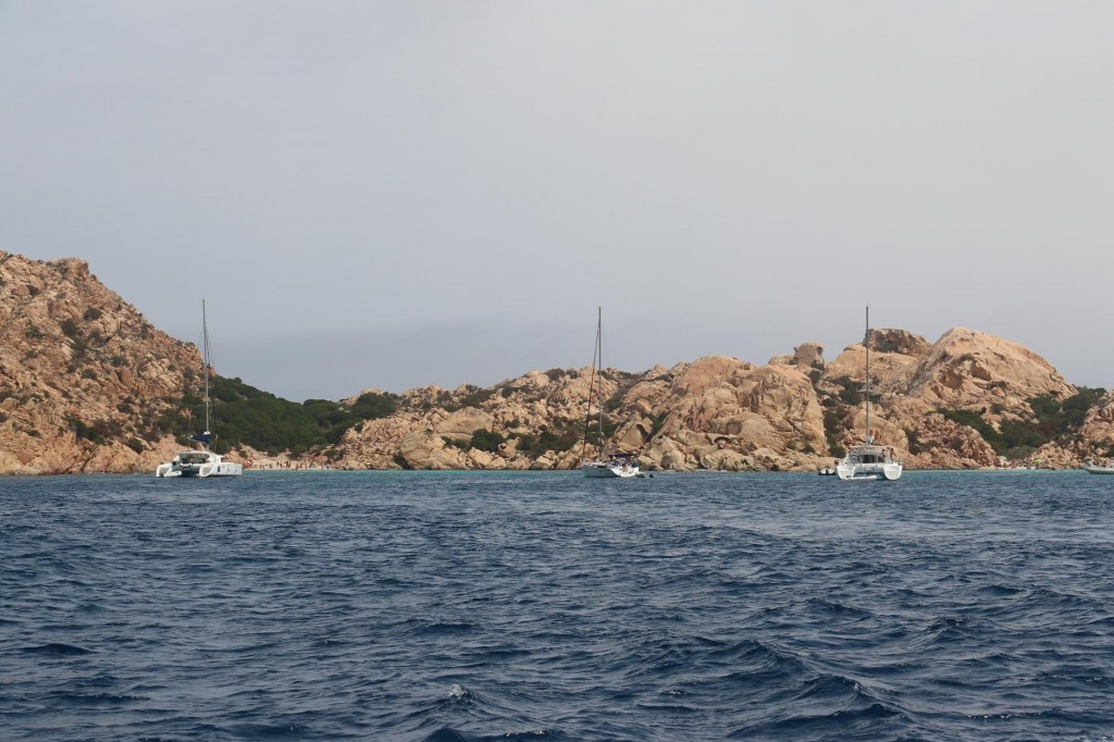 We head back to the west coast of Caprera Island and go into our favourite bay Cala Coticcio which unfortunately had a strong breeze blowing straight into it