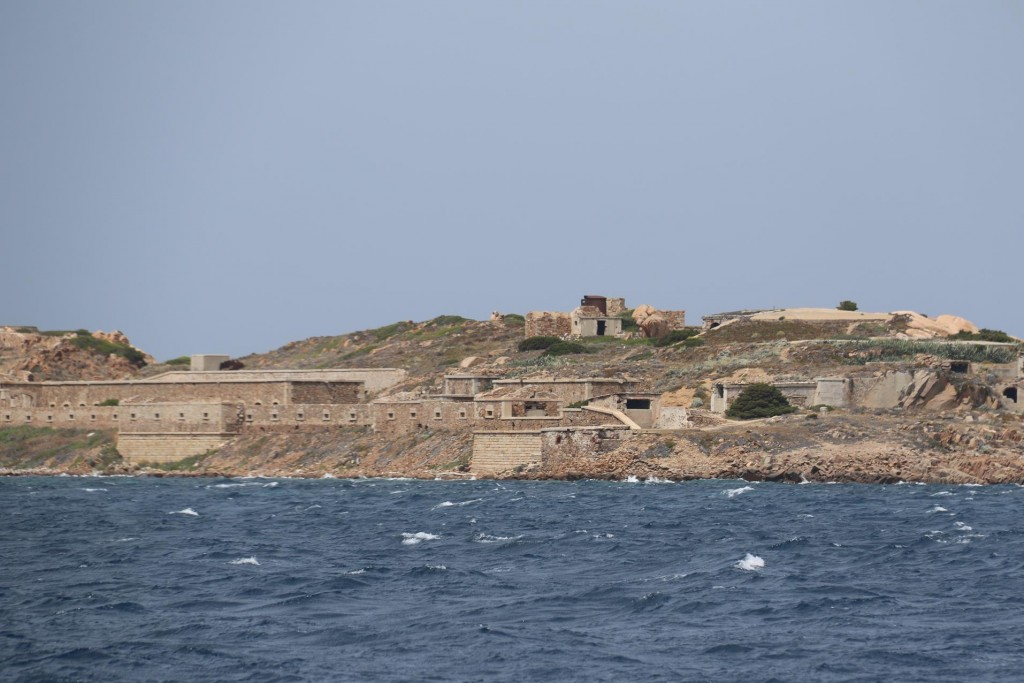 Once again we pass the old buildings on the south west coast of Caprera Island