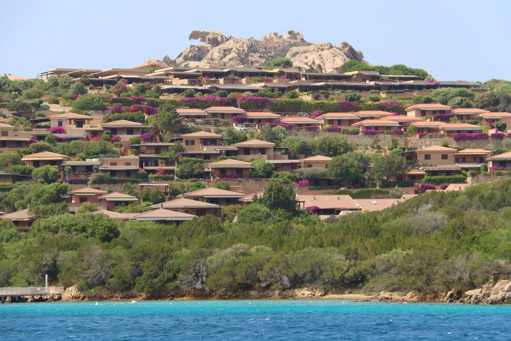 Villas line the shore of this large bay
