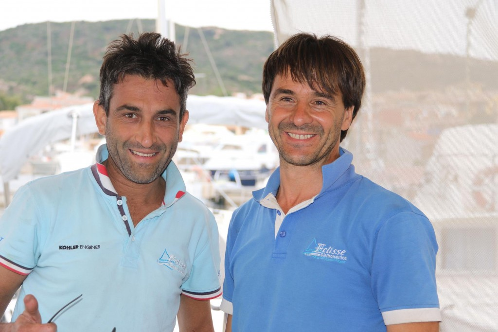 Pasquale (right) and his colleague finally complete the electrical work on the boat replacing all the batteries