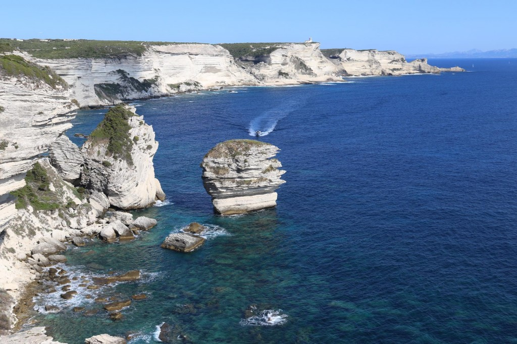 Perfect afternoon light on the limestone cliffs looking east of Bonifacio