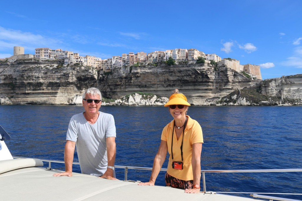 As we head east once again, we pass the wonderful houses balancing on the high cliffs of Bonifacio