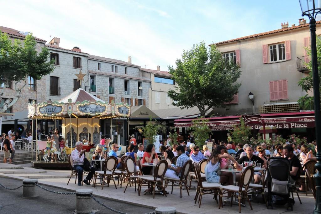 The restaurant and bar lined Place de la République is the main square of Porto Vecchio Old Town