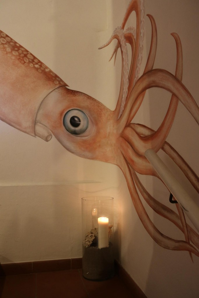 An interesting mural on the staircase leading to the restaurant