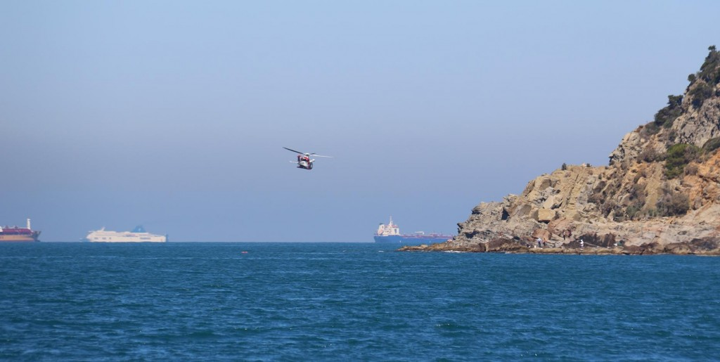 A very low flying helicopter gives us a little fright as we continue along the coast