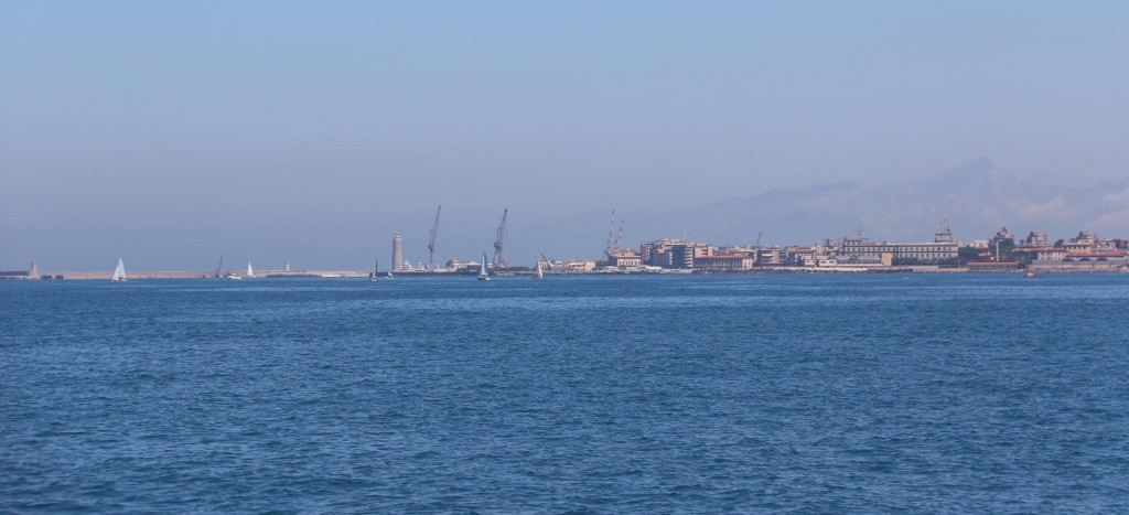 The cranes and the entrance to the port can be seen clearly