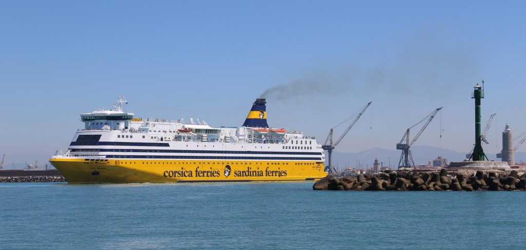 One of the large ferries leaves the port as we approach