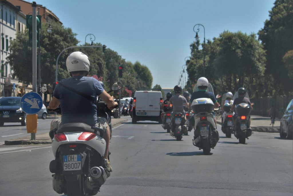 While driving you have to be aware of the incredible number of motor bike riders in Livorno