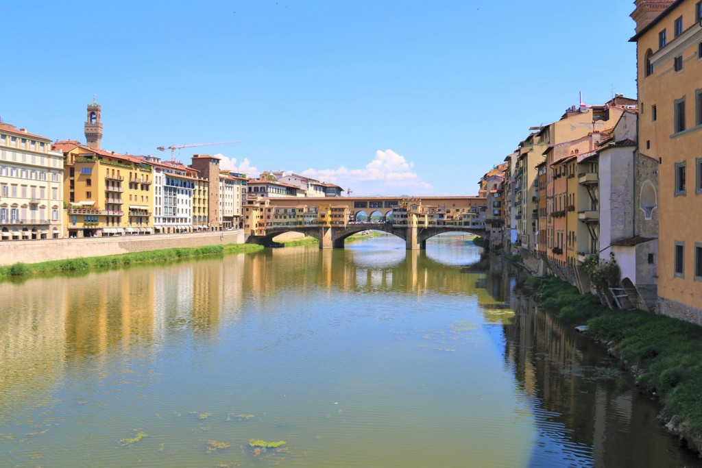 From the Ponte Santa Trinita one has a great view of the famous Ponte Vecchio