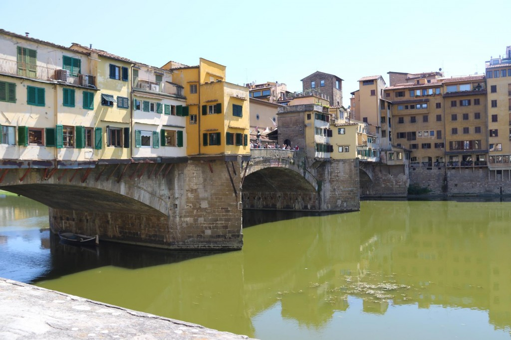 The Ponte Vecchio was first built over the river Arno in 966, then rebuilt after a flood in 1345