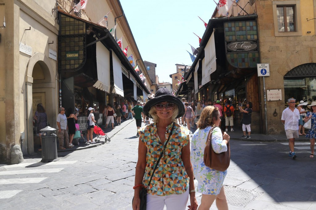 Since ancient times on either side of the Ponte Vecchio were shops and since the late 1500's only gold and jewellery shops are allowed on the bridge