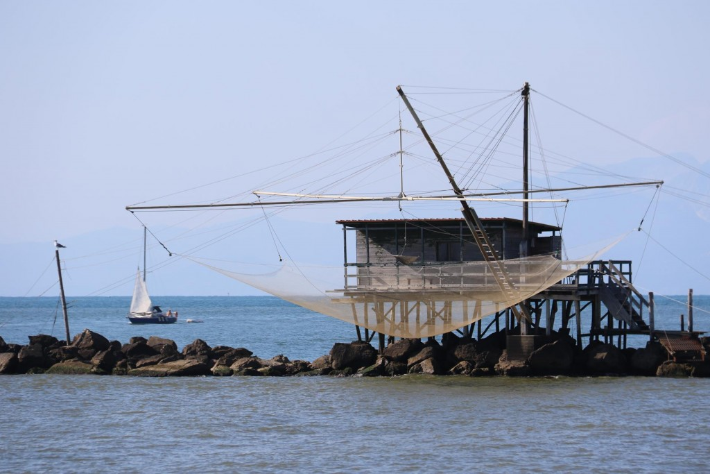 Huge dip nets have been constructed by each of the houses