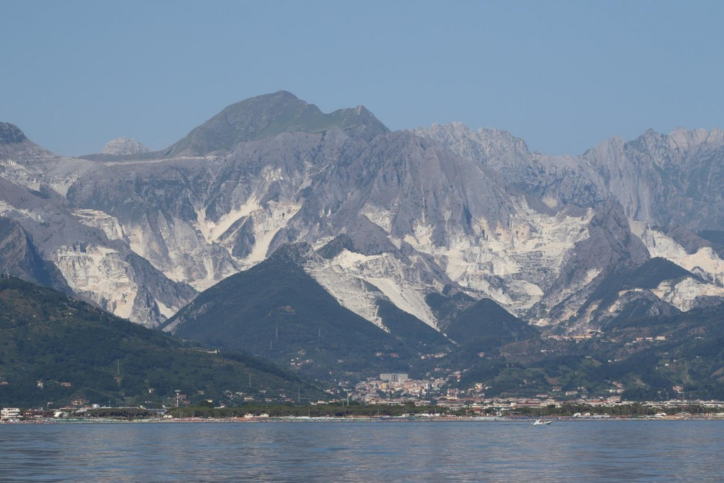 The town of Marina di Carrara lies on the coast and since ancient times has been used as a port shipping it's fine white marble all over the world. Carrara marble is a pure white marble which has been favoured by sculptors such as Michaelangelo