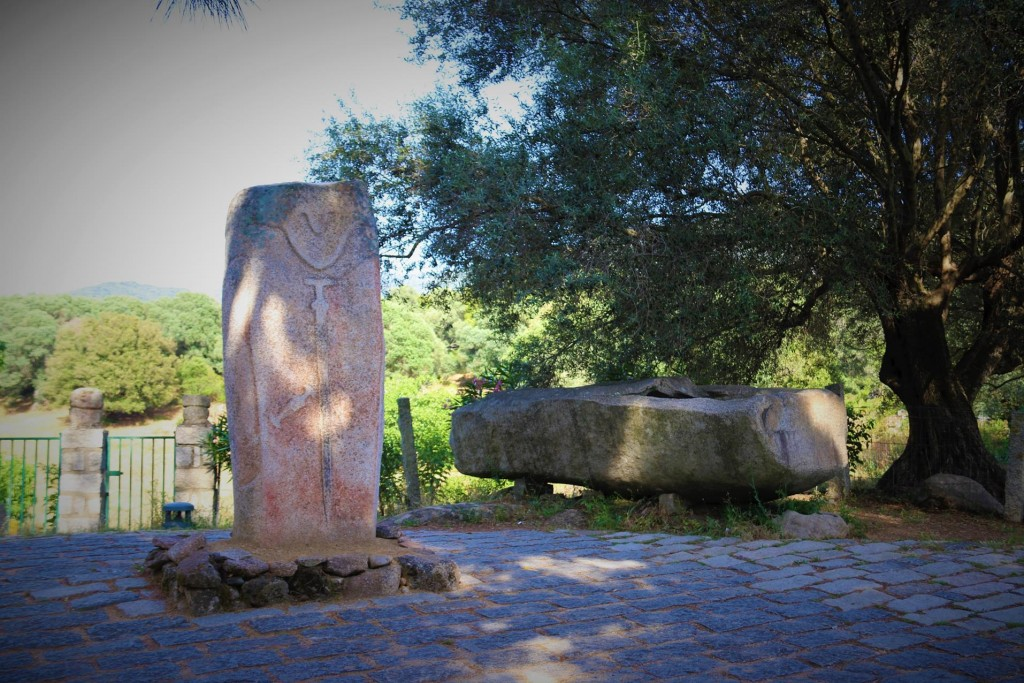 Near the entrance of Filitosa is a fine example of a Corsican statue -menhir