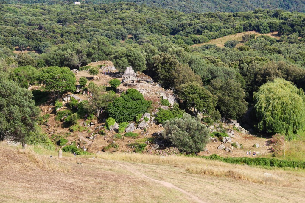 We continue up the hill to the quarry and look down on the ancient site