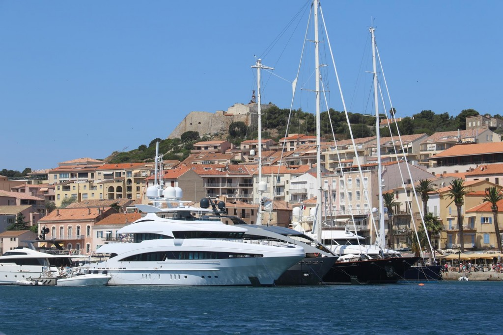 There are plenty of large super yachts sheltering in the port today also
