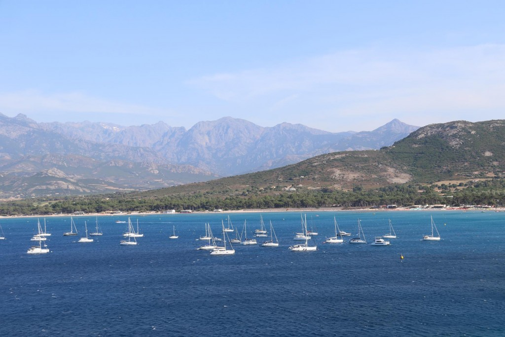 Overlooking the boats on the moorings off the beach by Calvi
