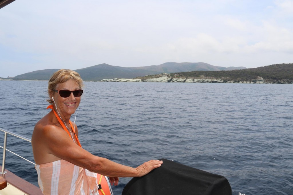 Michele seems to be enjoying the diversity of the scenery on the Corsican coast