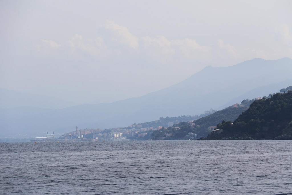 In the far distance we can see the large town of Bastia