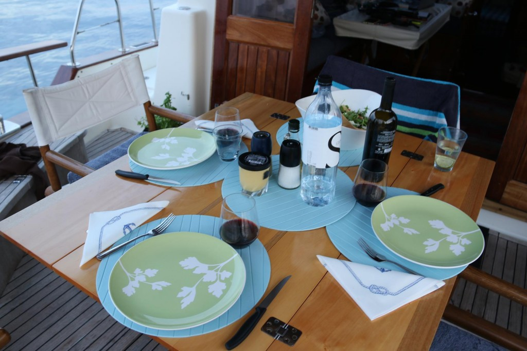 It is great that we are using our huon pine table, all the way from Tasmania