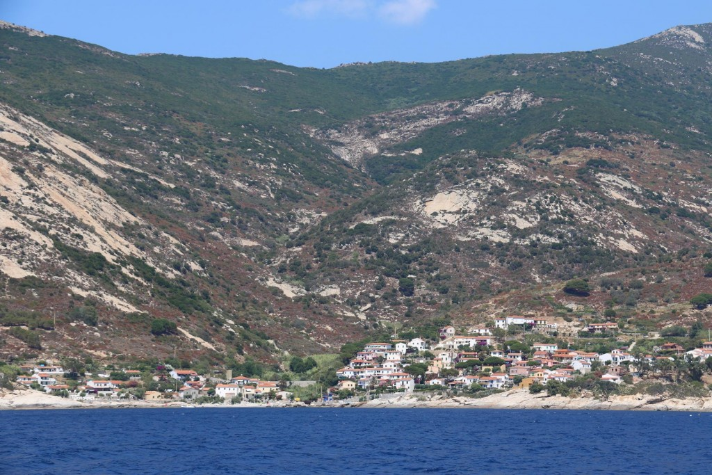 We approach the south west coast of Elba near the town of Pomonte