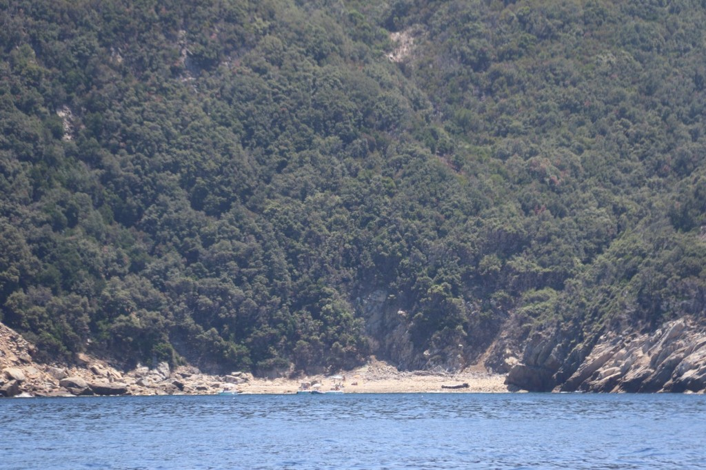 There are many small stoney beaches at the foot of the steep rocky coast (
