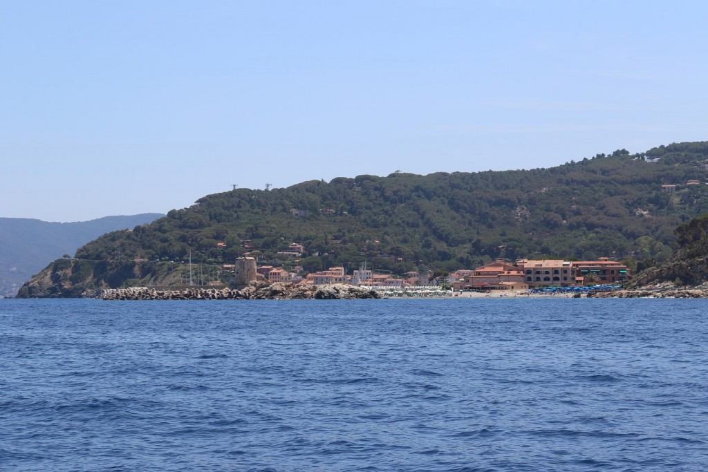 Marciana Marina comes into view with the lovely beach of Fenicia in the foreground