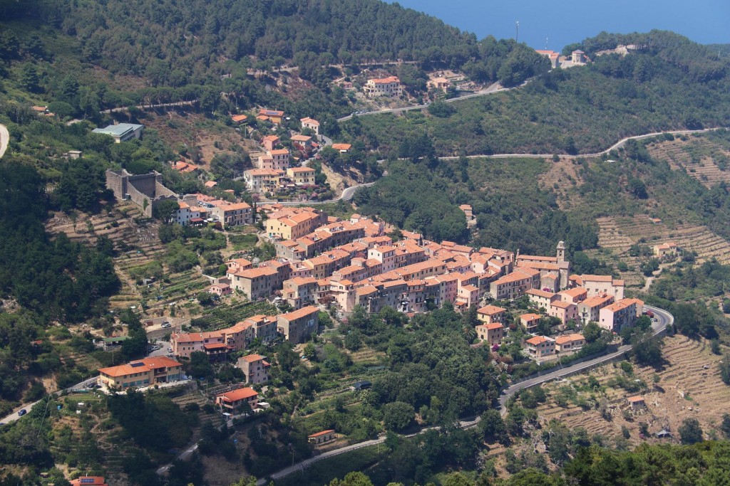 Looking down to one of the hilltop villages on the slopes of Monte Capanne