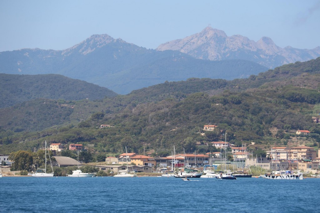 Looking towards to where we moored overnight with Monte Capanne in the distance