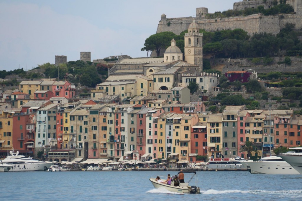 Portovenere with it's pastel coloured tall narrow houses and austere grey castle above make the village a photographers dream!!