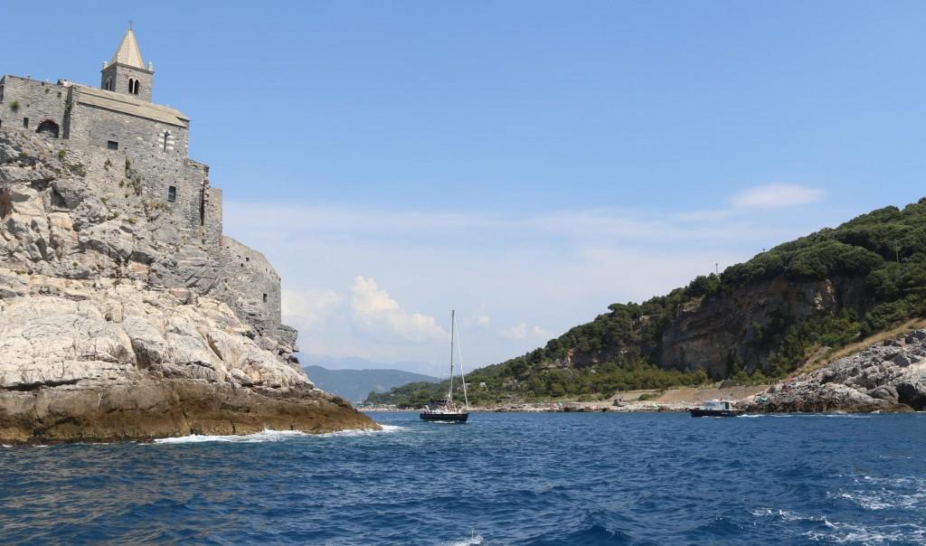 We leave Portovenere and head through the narrow passage at Punta San Pietro