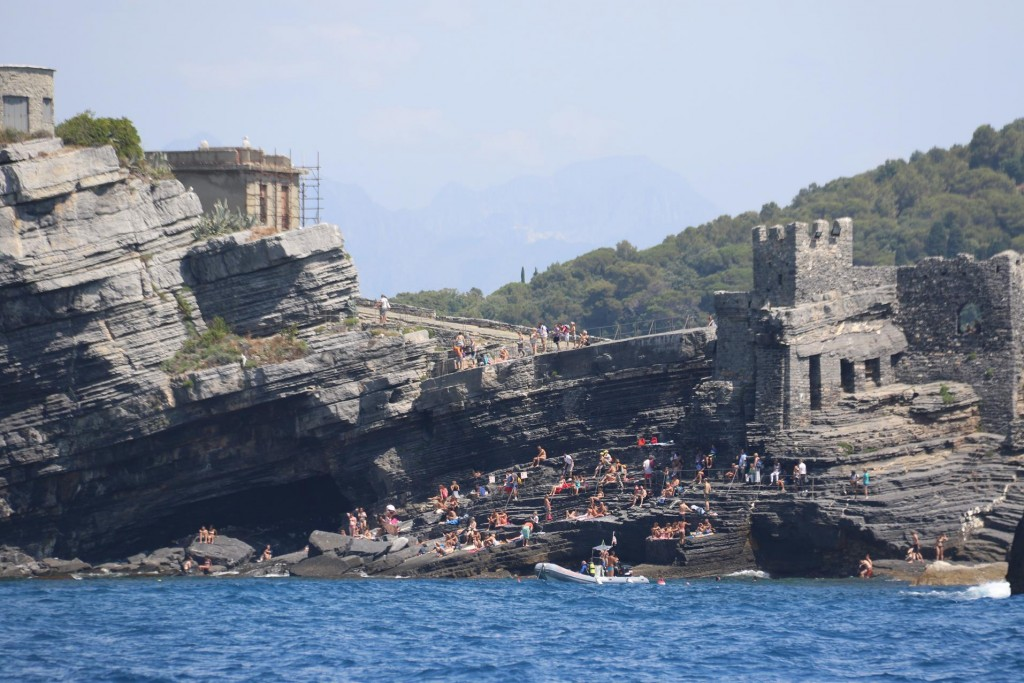 The Bay of Poets, below the Church of St Peter where Byron the poet used to swim. Ironically his friend Shelly, also a poet, is believed to have lost his life here in a storm on his return from Livorno in his boat, which capsized. Today it is a popular swimming place as can be seen be the crowd on the rocks