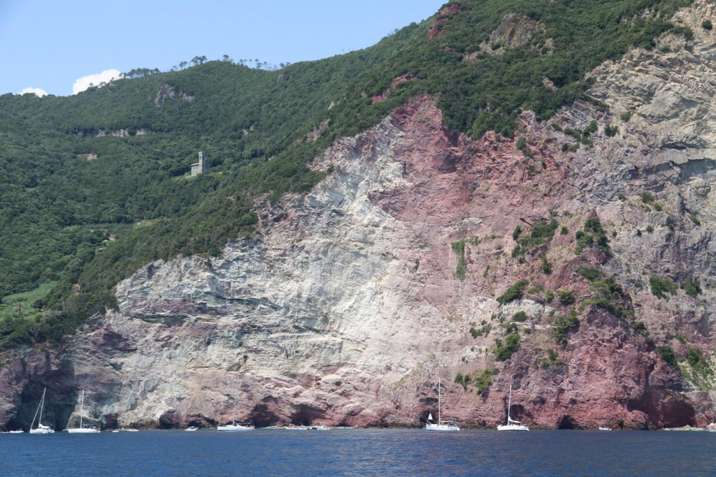 We continue along the coast of the Cinque Terre passing some yachts moored below some amazing cliffs