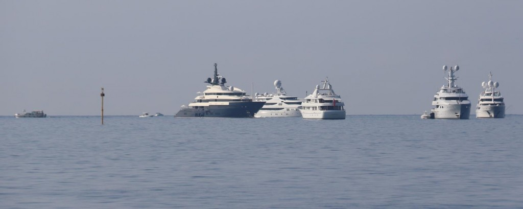 Many super yachts on anchor in Golfo Marconi off Portofino