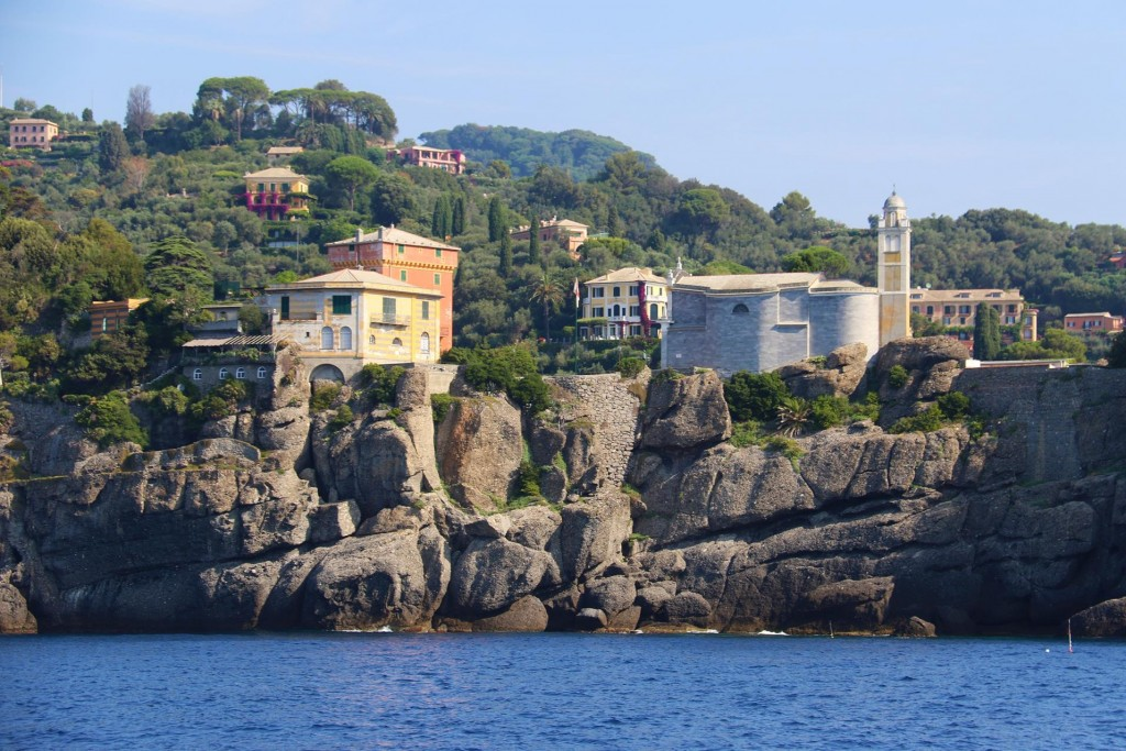 Looking at the town of Portofino from the other side of the  point
