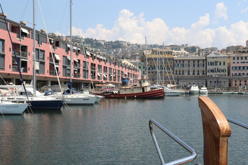 Finally we find our berth deep in the Genoa harbour