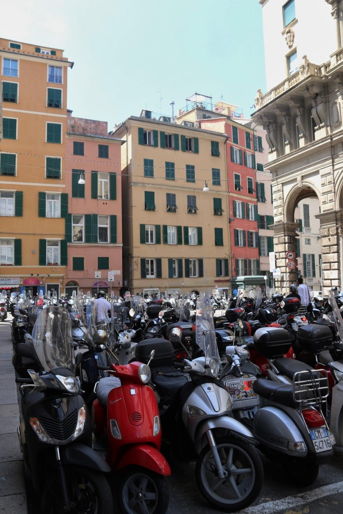 Motor bikes are in their tens of thousands parked around the centre of Genoa