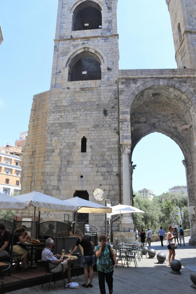A great view of the ancient gates from Cafe di Barbarossa