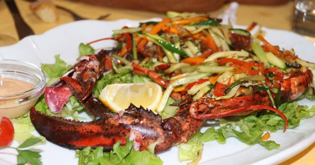Wonderful local fresh lobster with spring vegetables