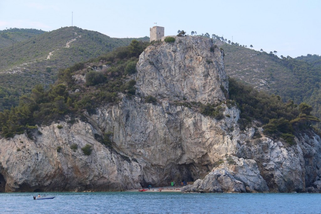 The bluff of Varigotti with it's tower and tiny beach