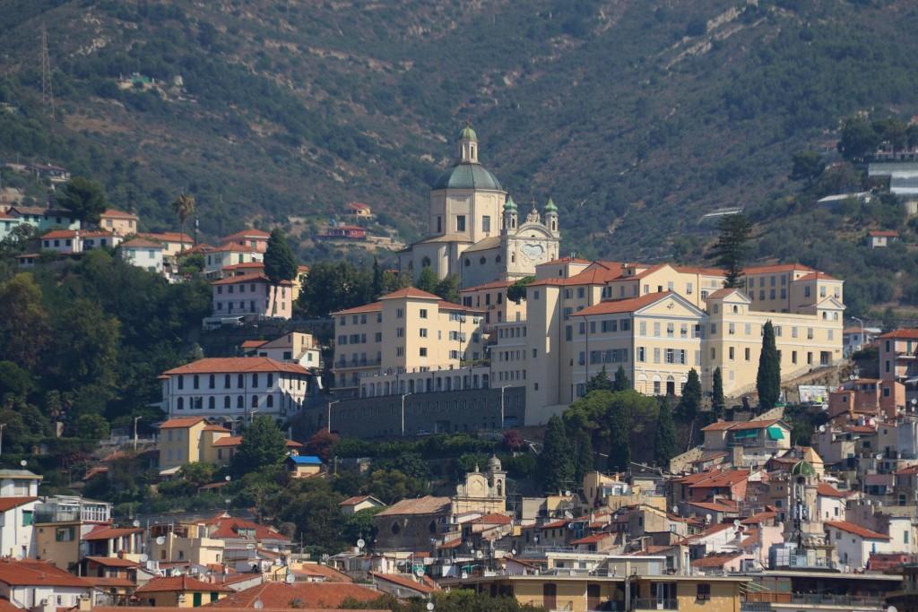 We pass Santuario della Madonna della Costa high above the town
