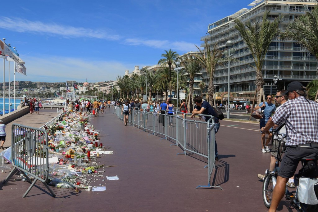 Flowers were still being laid after the horrific event that occurred here in Nice 3 weeks earlier