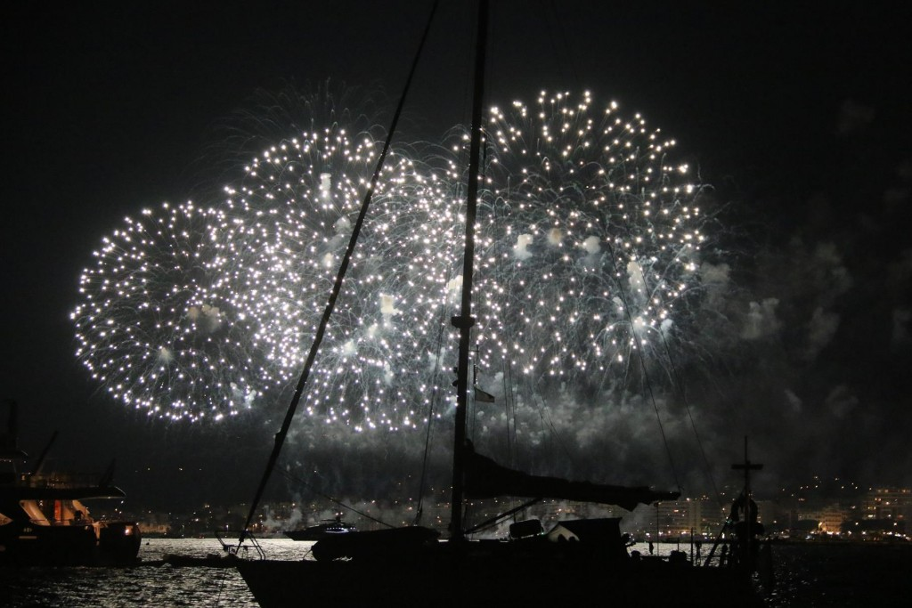 Fabulous fireworks coming from the east near Cannes