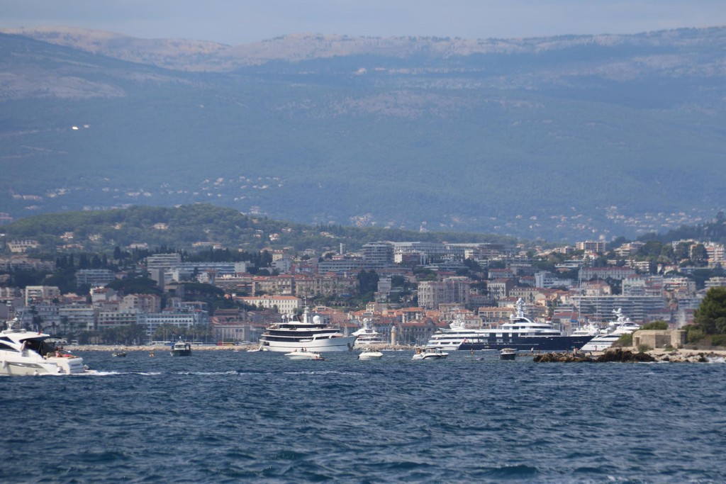 With the long lens we look back to the larger vessels moored nearby off Cannes