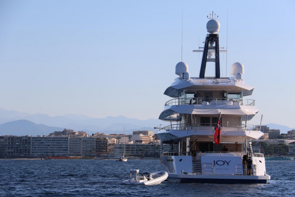 In Golfe Juan where Ric's boating skills test was to be conducted several superyachts were still at anchor