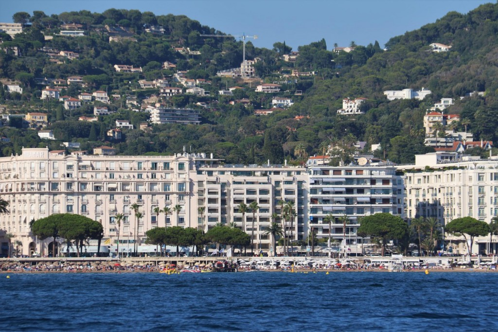 The shoreline of Cannes consists of rows and rows of luxury hotels