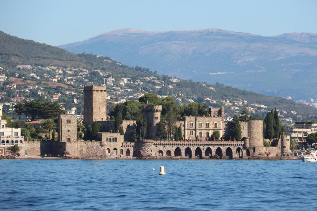 The conspicuous restored 14th century castle at Mandelieu La Napoule