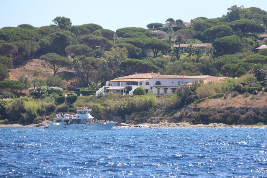 One of the maganificent houses in Baie des Canebiers next to St Tropez which is believed to be owned by Briditte Bardot