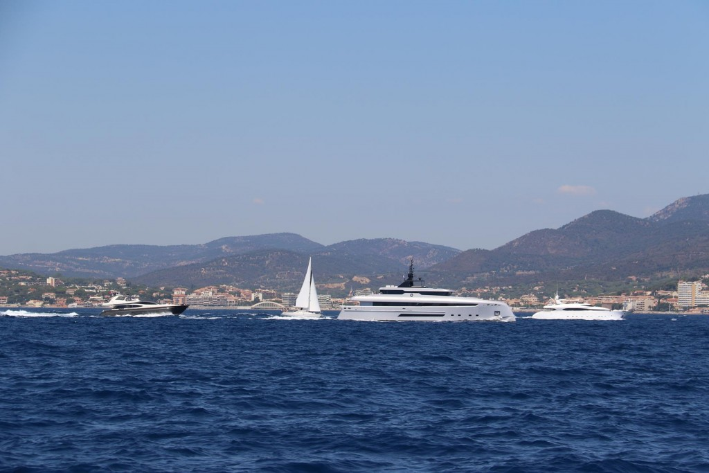 Lots of water traffic in the Golfe of St Tropez with the port of Ste Maxime in the background